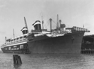 SS America (1939) - SS America being converted to USS West Point in Norfolk Ship Yards.
