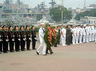 Russian and U.S. sailors honoring military personnel who perished during World War II, Vladivostok, Russia, July 4, 2002 US Navy 020704-N-8646S-004 Vladivostok, Russia.jpg