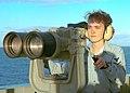 US Navy 030131-N-2410G-002 Signalman 3rd Class Tabetha Bermea from Killeen, Texas, looks through high-power binoculars.jpg