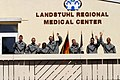 US Navy 030418-D-7433T-001 Seven Army former POW's greet the media form the balcony of their hospital ward at Landstuhl Regional Medical Center.jpg