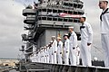 US Navy 030502-N-8497H-015 Sailors aboard USS Abraham Lincoln (CVN 72) man the rails as the ship pulls into NAS North Island.jpg