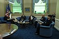 US Navy 050215-N-2383B-161 Chief of Naval Operations (CNO), Adm. Vern Clark, meets with Chief of Kuwait Naval Forces, Maj. Gen. Ahmad Y. Al-Mulla (second on left), and staff during an office call in the Pentagon.jpg