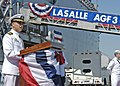 US Navy 050527-N-3527B-021 Commanding Officer, USS La Salle (AGF 3), Capt. Herman A. Shelanski, speaks to the crowd of distinguished guests.jpg