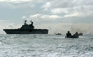 USS Peleliu - The 3rd Assault Amphibian Battalion departs Peleliu during exercises off the coast of Hawaii in 2005