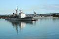 US Navy 070304-N-4965F-001 Guided missile cruiser USS Bunker Hill (CG 52) passes the Battleship Missouri Memorial as she transits Pearl Harbor.jpg