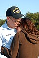 US Navy 070410-N-9013W-101 Engineman Fireman James D. Ingerson hugs his wife before deploying for six months aboard the dock landing ship USS Carter Hall (LSD 50).jpg