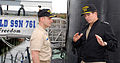 US Navy 071024-N-1595E-003 Commander Submarine Force, Vice Adm. John J. Donnelly wraps up a visit with Cmdr. Paul Savage, the commanding officer of Los Angeles-class attack submarine USS Springfield (SSN 761).jpg