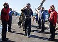 US Navy 090717-N-5538K-271 Rear Adm. Richard B. Landolt passes through rainbow sideboys on the flight deck of the amphibious transport dock ship USS Denver (LPD 9).jpg