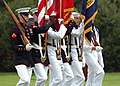 US Navy 100714-N-8132M-049 Navy and Marine Corps ceremonial color guard members take part in the full honors arrival ceremony for Commander of the Royal Bahrain Naval Force Brig. Gen. Abdulla Saeed Al Mansoori.jpg