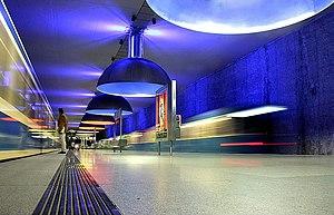 Westfriedhof (Munich U-Bahn) - Westfriedhof station platform.