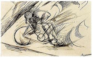 Dynamism of a Cyclist - Image: Umberto Boccioni, Dynamism of a Cyclist (detail), 1913