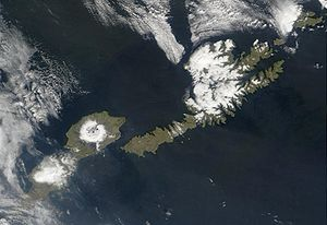 Satellite shot of the islands of Umnak (left) and Unalaska (right)