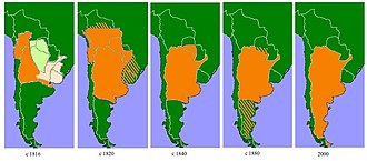 History of Argentina - The changing state of Argentina. The light green area was allocated to indigenous peoples, the light pink area was the Liga Federal, the hatched areas are subject to change during the period.