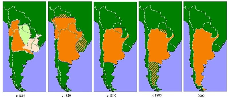 Green map of Argentina with an orange outline growing over time to illustrate the changing state of Argentina's indigenous peoples.