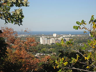 Fennell Avenue (Hamilton, Ontario) - View of lower city from Upper King's Forest Park