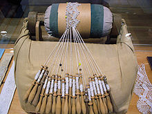 Bobbin lace in progress at the Musée des Ursulines de Québec