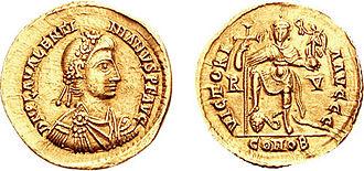 Valentinian III - Solidus of Emperor Valentinian III.