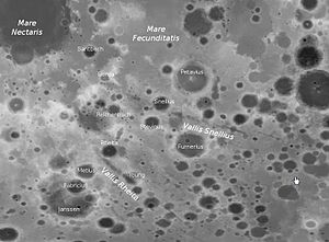 Vallis Rheita - Vallis Rheita and Vallis Snellius (detail of LRO map)