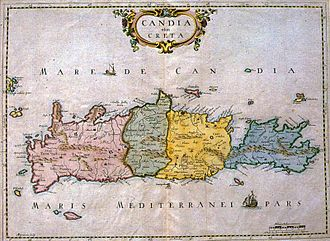 Kingdom of Candia - Map showing the four territoria of Crete