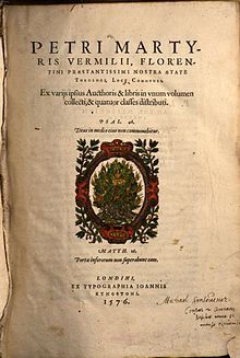 Title page of Vermigli's Loci Communes, burning bush in center, text in Latin