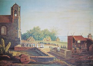 Plaza Rajah Sulayman - Malate Church and frontage (now Plaza Rajah Sulayman) in 1831
