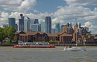 View of Saunders Ness Road and Canary Wharf from the Thames near Greenwich.jpg