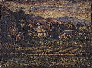 Village on Burlap