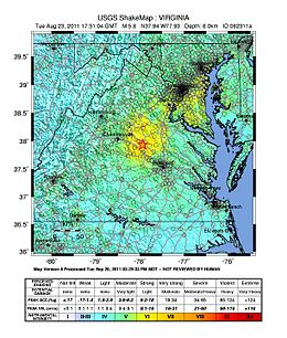 Shake map showing the epicenter of the earthquake in Virginia