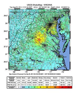 2011 Virginia earthquake - Shake map