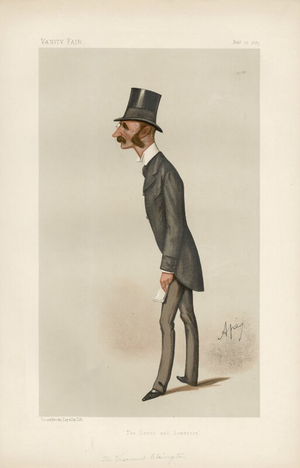 "Hugh Fortescue, 4th Earl Fortescue - ""The Devon and Somerset"", caricature of Viscount Ebrington by ''Ape'', Vanity Fair 19th February 1887"