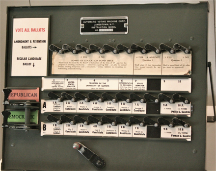 Demo version of lever style voting machine on display at the National Museum of American History Voting machine.png