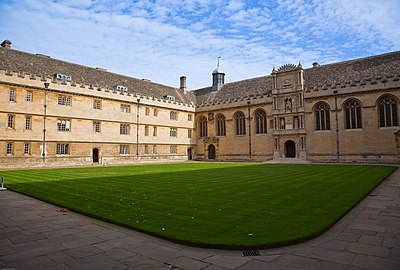 Wadham College was founded in 1610 by Dorothy Wadham using money bequeathed for this purpose by her husband Nicholas Wadham. The main quadrangle, seen here, was built 1610–13 to designs by William Arnold.