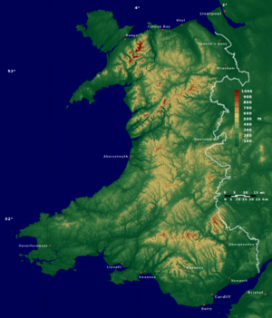 Outline of Wales - Enlargeable relief map of Wales