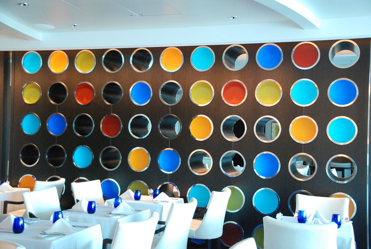 file:wall decor -- blu restaurant aboard the celebrity equinox