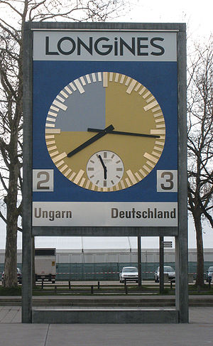 1954 FIFA World Cup Final - The restored match clock has been installed in front of the Stade de Suisse as a memorial.