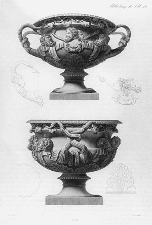 Warwick Vase - Engraving of the Warwick Vase, 1821, intended as a craftsman's pattern