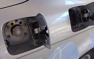 Fuel tank - Fill caps on a BMW automobile for hydrogen (left) and for gasoline (right) fuel tanks