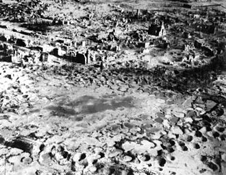Aerial bombing of cities - The remains of German town of Wesel after intensive Allied area bombing in 1945 near the end of World War II (a destruction percentage of 97% of all buildings).
