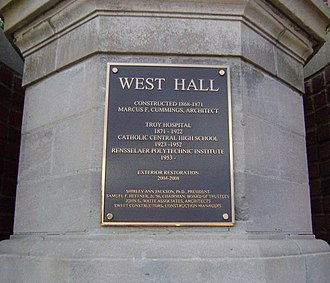 West Hall (Rensselaer Polytechnic Institute) - Image: West hall plaque