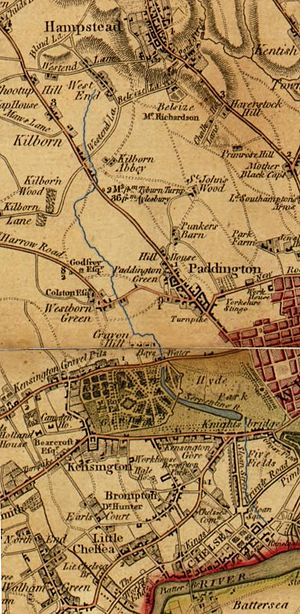 River Westbourne - Route of the River Westbourne (highlighted in blue) shown between West End (now known as West Hampstead) and the Thames on a map from 1790.