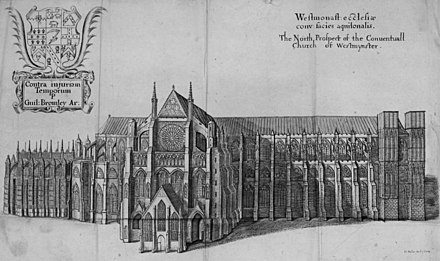 The Abbey c1711 prior to the north towers being built Westminster Abbey c1711.jpg