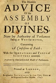 "Title page reading ""The Humble Advice of the Assembly of Divines, Now by Authority of Parliament sitting at Westminster, Concerning A Confession of Faith ..."""