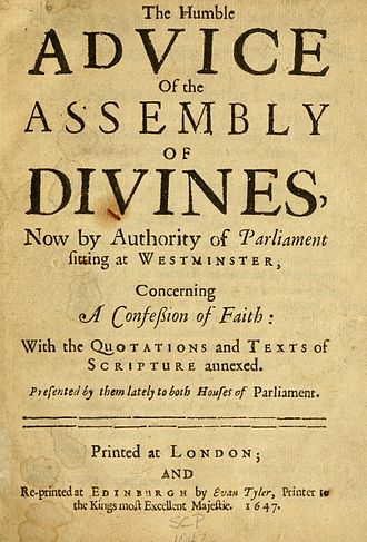 Westminster Confession of Faith - Title page of a 1647 printing of the confession