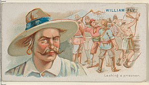 William Fly - Image: William Fly, Lashing a Prisoner, from the Pirates of the Spanish Main series (N19) for Allen & Ginter Cigarettes MET DP835026