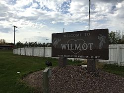 The welcome sign for Wilmot, South Dakota
