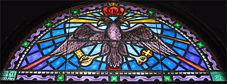 Tarpon Springs, Florida - A double-headed eagle portrayed in a stained glass window inside Tarpon Springs' St. Nicholas Greek Orthodox Cathedral.
