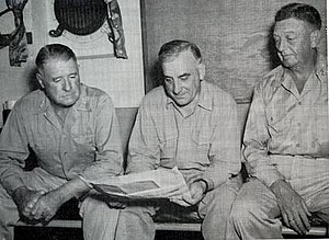 Leonard F. Wing - From left to right -- I Corps Commander Major General Innis P. Swift, Vice Admiral Daniel E. Barbey, Commander 7th Amphibious Force, Major General Leonard F. Wing, Commander, 43rd Division. January 3, 1945, aboard USS Blue Ridge.