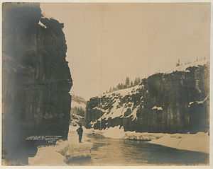 Miles Canyon Basalts - Winter scene in Miles Canyon, 1902