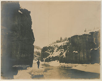 Miles Canyon Basalts - Winter scene in Miles Canyon, 1902.