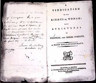 History of feminism - First edition print of A Vindication of the Rights of Woman